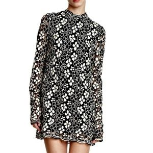 Tracy Reese Long-Sleeve Mock Neck Lace Mini Dress